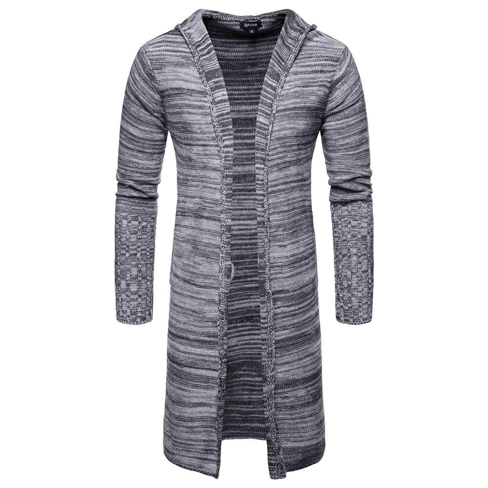 Men Slim Coat Winter Men's Long Sleeve Jacket Trench Stylish Cardigan Knit Warm Knitwear Jackets For Male Overcoat Grey