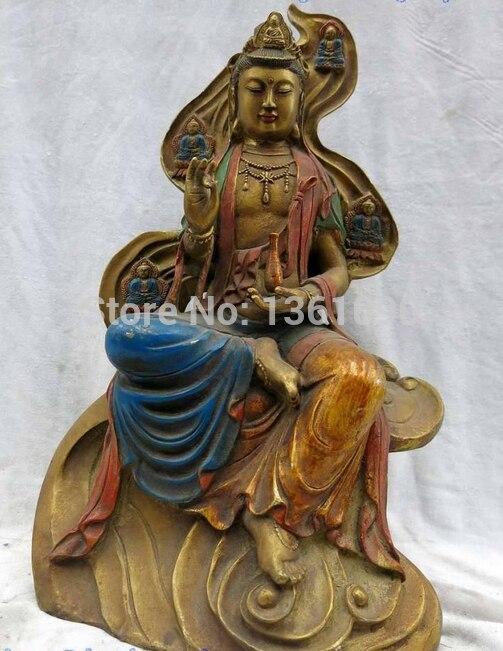 00991 16 Tibet bronze gild five buddha  Buddism godness Guanyin net bottle Statue