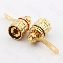 50pcs/lot  Audio Wire Socket Trench Excavated Straight Burr Gold Plated Plug Connector