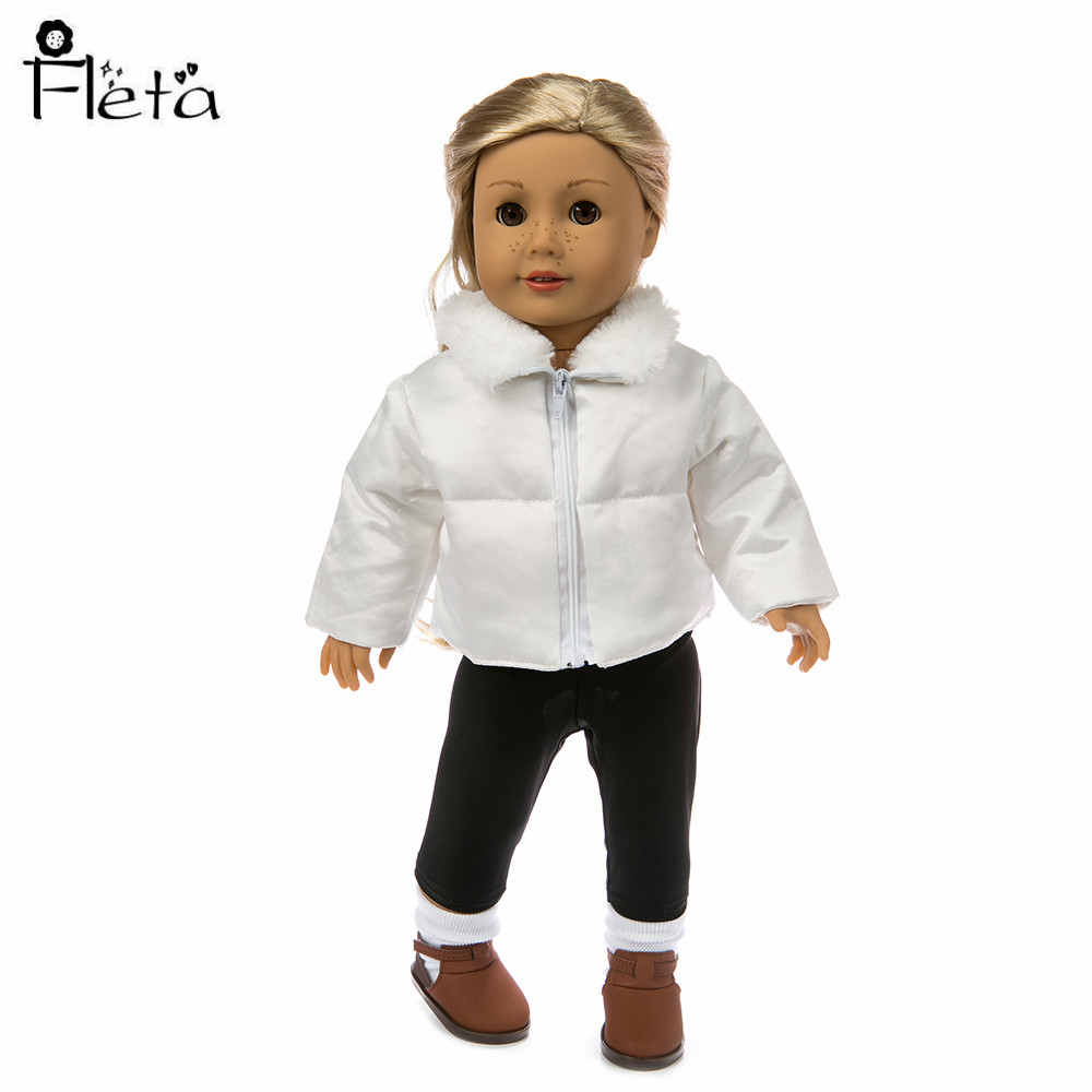 Winter New Doll Clothes White Down Jacket For 18-Inch American Dolls And Baby Doll 43cm For Children's Best Gift