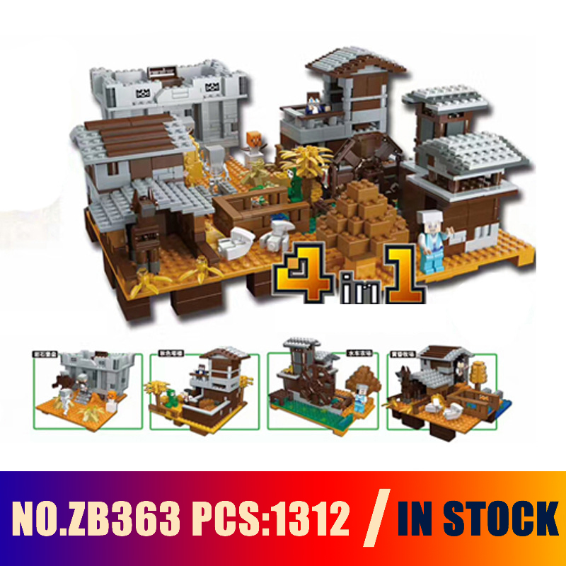 Compatible with lego Models building toy ZB363 1312PCS 4in1 My World Sunset Manor Villa Building Blocks toys & hobbies браслет на шнурках lisa jewelry 7 1 h323 363 fh323 363
