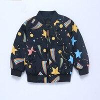 الأطفال ملابس ومعاطف 2017 الجديدة الخريف الاطفال الملابس لطيف سماء نجمية طباعة البيسبول جاكيتات للبنات بنين ستر معطف
