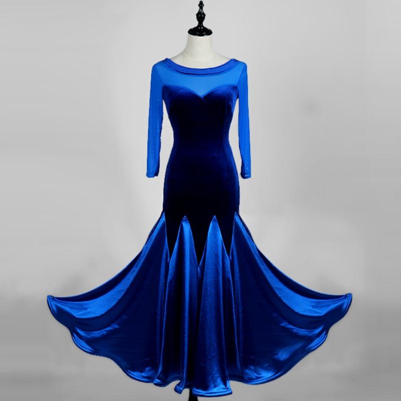 Novel Latin Dance Dresses For Ladies Blue Purple Velvet Present Compete Skirts Woman Professional Ballroom Feminine Suits Q11155