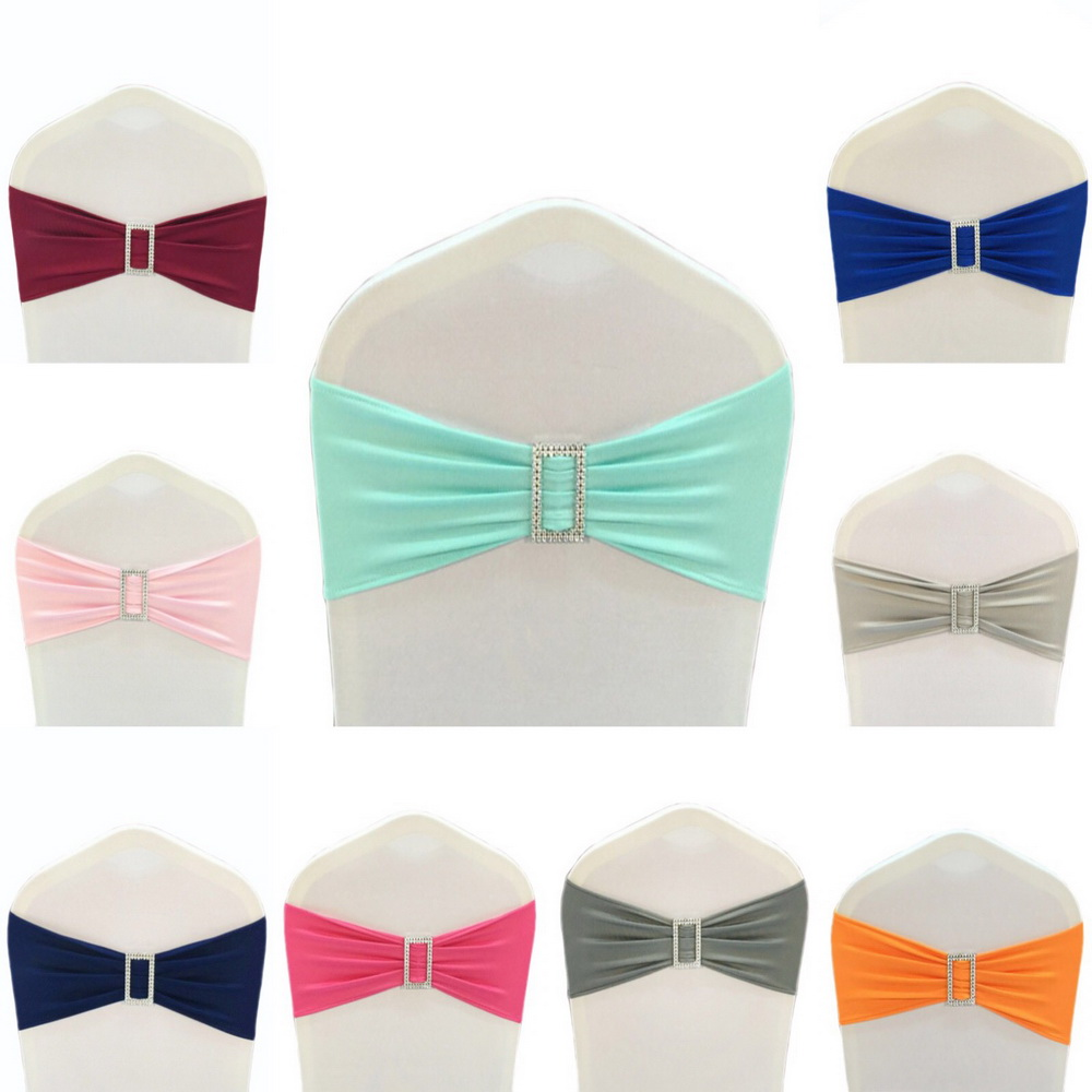 100pcs #8 White Spandex Lycra Chair Band with Rectangle buckle,Double Layer Spandex Chair Band&Sash for Wedding Event