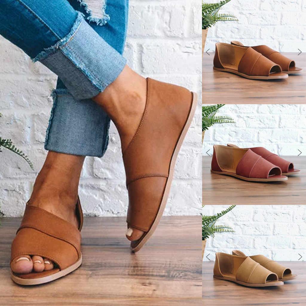 Retro รองเท้าสตรีสตรี Peep Toe รองเท้าปลาปากข้อเท้าโรมันรองเท้าแตะผู้หญิงรองเท้าเปิดนิ้วเท้ารองเท้าชายหาด # g4