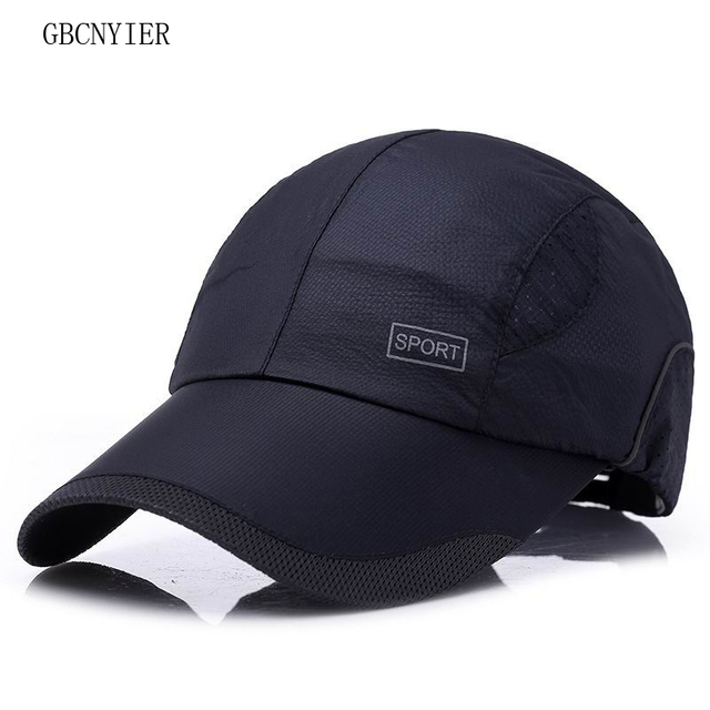 688b4b522b4 GBCNYIER 2018 Spring And Summer Quick Dry Baseball Cap Breathable Thin Unisex  Sun Hat Outdoor Sport Visor Wicking Cotton 10pcs