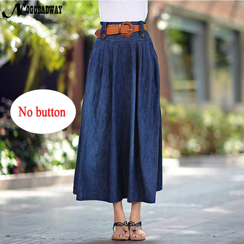 48d12531826 ... S-6XL talla grande denim Falda larga Mujer cintura alta jeans falda  verano maxi faldas ...