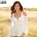 Laisiyi Autumn S-5XL Lace Stitching T Shirt Long Sleeve Tops Tee Shirt Sexy Off Shoulder Tops Plus Size Women T-Shirts ASBL20018