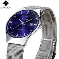 Новая Мода топ luxury brand WWOOR часы мужские кварцевые часы из нержавеющей стали сетка ремешок ультра тонкий циферблат часы relogio masculino