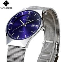 Nueva Moda de primeras marcas de lujo WWOOR relojes hombres correa de malla de acero inoxidable reloj de cuarzo ultra delgado reloj dial relogio masculino