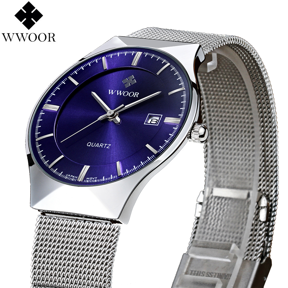 цены на New Fashion top luxury brand WWOOR watches men quartz-watch stainless steel mesh strap ultra thin dial clock relogio masculino