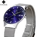 WWOOR nova Moda top marca de luxo relógios homens relógios de quartzo-relógio de aço inoxidável cinta de malha ultra fino mostrador do relógio relogio masculino