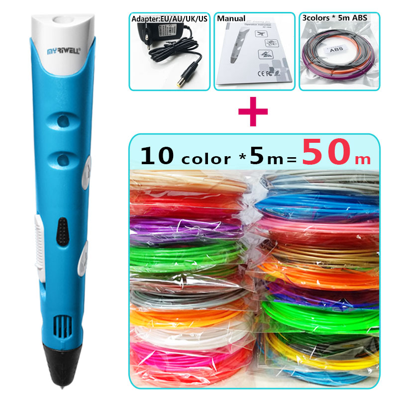 Myriwell 3d canetas + 10*5 m ABS Filamento, 3 d caneta 3d modelo Inteligente 3d printing pen Melhor Presente para Kidspen-3d caneta impressão
