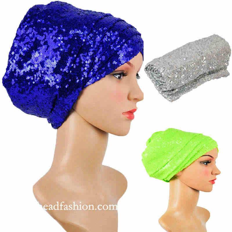 Queency afryki cekiny turban 13 kolorów jeden sztuk/paczka headtie gele szalik modne Turban headwrap na imprezę lub wesele.