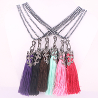 Fashion 3Strands Natural Black Hematite Necklace Green Color Natural Stone Gems Necklaces For Women