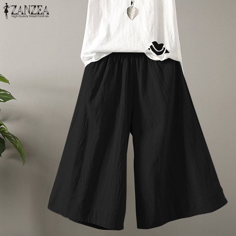 2018 Plus Size ZANZEA Women Retro Solid Elastic Waist Pockets   Wide     Leg     Pants   Harem Trousers Cotton Linen Baggy Pantalon S 5XL