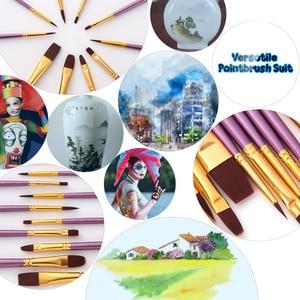Image 4 - 50 PCS ניילון שיער מברשות צבע סט אמן מכחול הרבה מרובה מדיומים מברשות צבעי מים גואש שמן ציור ציור