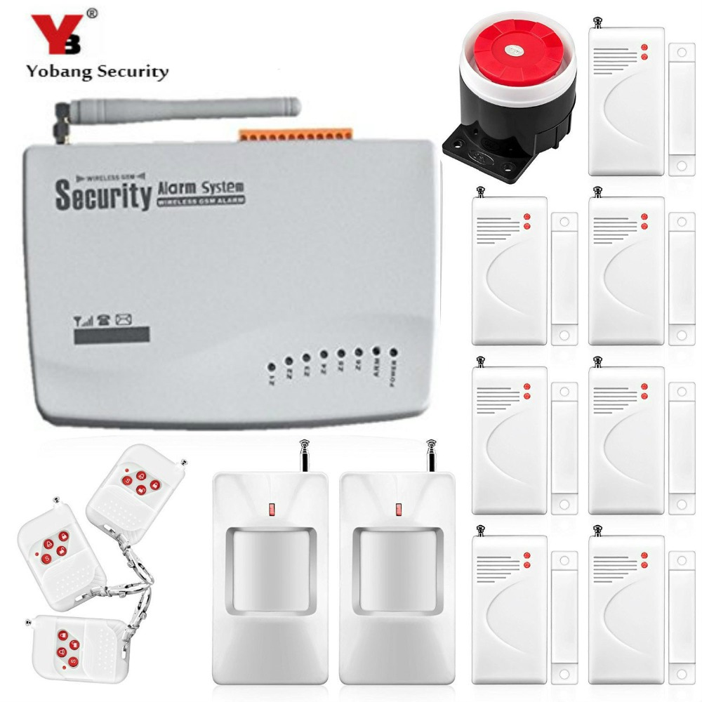 YobangSecurity  Russian Voice Prompt GSM Wireless Burglar Alarm System Security Home PIR Motion Detector Door Alarm Sensor Kit wireless motion door sensor detector 2 remote control home security burglar alarm system more stable than gsm alarm system