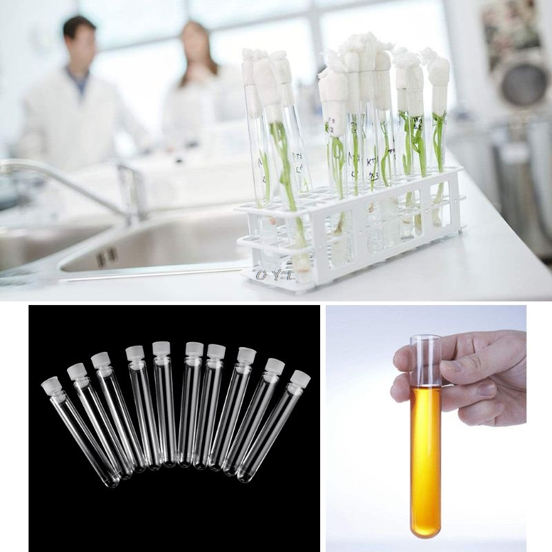Test Tube 10 Pcs 12x100mm Clear Plastic Test Tube With Cap U-shaped Bottom Long Transparent Test Tube Lab Supplies Office & School Supplies