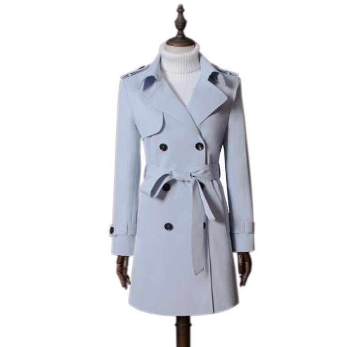 European spring ladies   trench   coat for women long sleeves coats womens casaco feminino slim overcoat woman light blue autumn