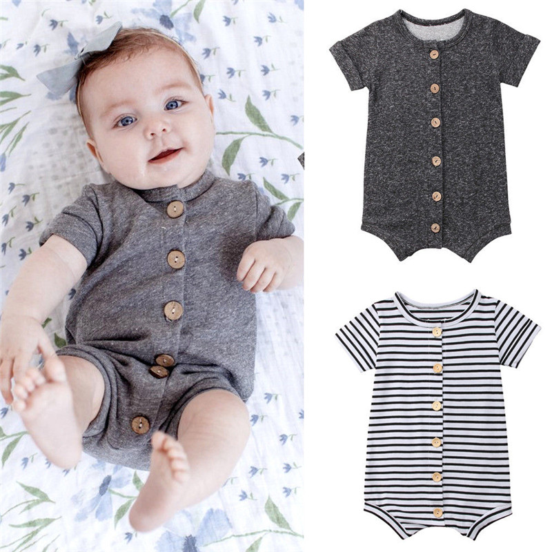 Newborn Baby Boys Girls Clothes Button Stripes   Romper   Baby Solid   Romper   Jumpsuit Baby Clothes Outfits
