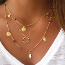 Tocona Bohemian Circle Sequins Leaf Charm Necklaces for women Trendy MultiLayer Gold and Silver Color Necklaces Jewelry T5283