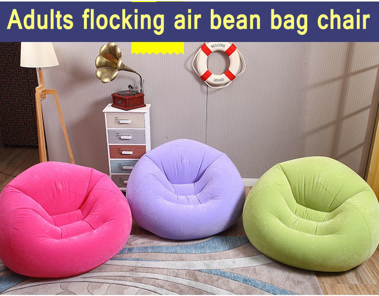 Flock pvc soft and comfort bean bag chair,inflatable air office recliner,living room beanbag sofa chair,purple pink green chair large oversized air inflatable bean bag chair 109 218 66cm pure black foldable sofa couch and beds