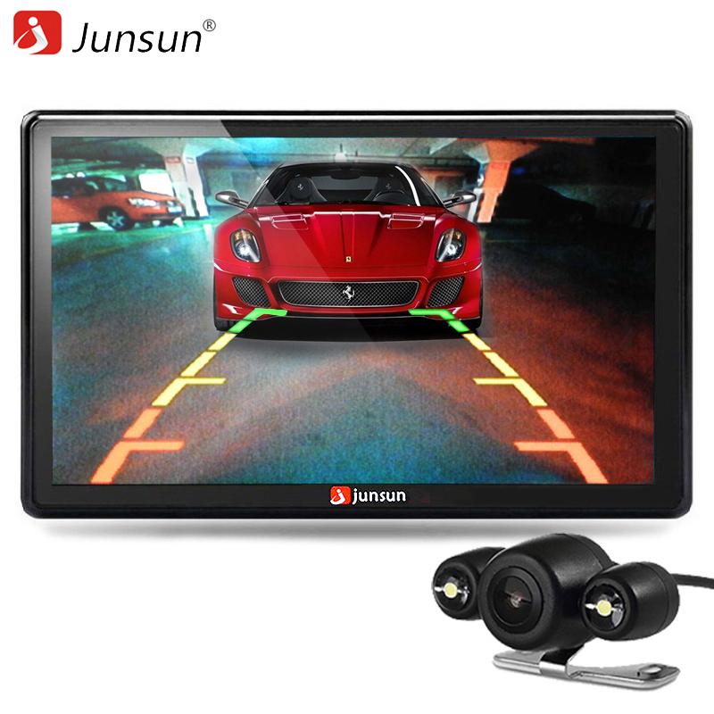 Prix pour Junsun 7 pouce voiture gps navigation bluetooth 8 gb avec vue arrière caméra FM MP3 MP4 800 MHZ Cartes Détaillées navigateur avec Mises À Jour Gratuites