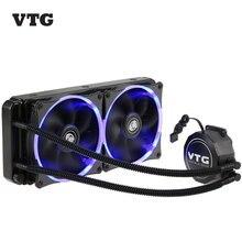 VTG240 Flüssigkeit Gefrierschrank Wasser Flüssigkeit Kühlsystem CPU Kühler Flüssigkeit dynamische Lager 120mm Dual Fans Blaue LED Licht Für Intel CPU
