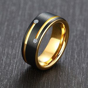 Image 1 - ZORCVENS Black Tungsten Carbide Wedding Band with Gold Tone Lines AAA CZ Stones Ring for Men High Quality