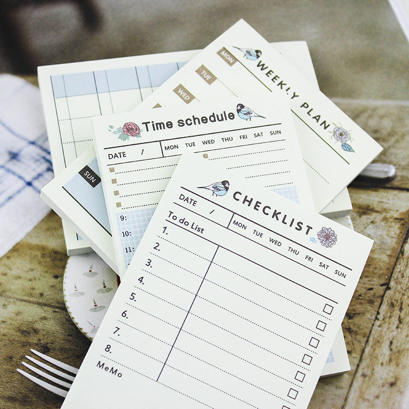 Blue Self-Adhesive Weekly Monthly Plan Time Schedule Checklist Sticky Memo Pad Mini Planner Notebook Cute Planner