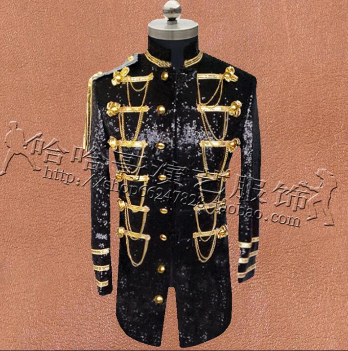 Vêtements multi boutonnage hommes paillettes Costumes conceptions Costumes de scène pour chanteurs veste hommes Blazers danse étoile Style noir argent - 2