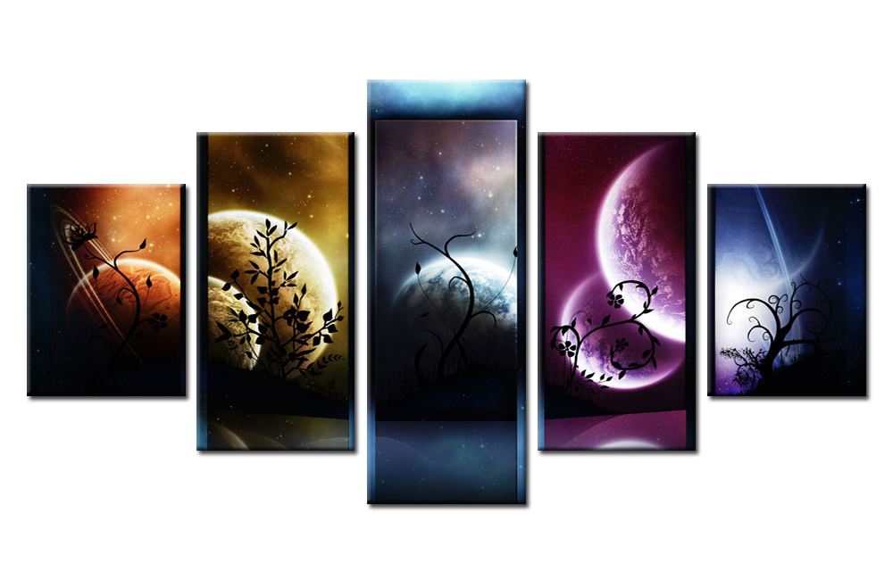 Modern 5 Pieces Venus Jupiter Mars Planet Mercury Starry Sky Paintings for Home or Living Room Decor Canvas Picture Art HD Print