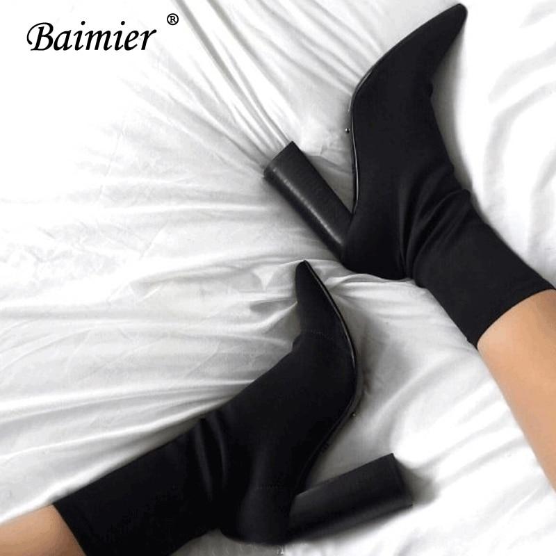 Baimier Negro Tobillo Calle Botas De Mujer Delgado Zapatos Calcetín Estiramiento Para Alto Boots Moda Black Mujeres Las Estilo green La Boots Tacón Cuadrados ddYqnr
