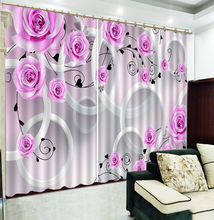 Custom 3D Curtain Dream Pink Rose Floating In Connected Circles floral Curtains Beautiful Blackout