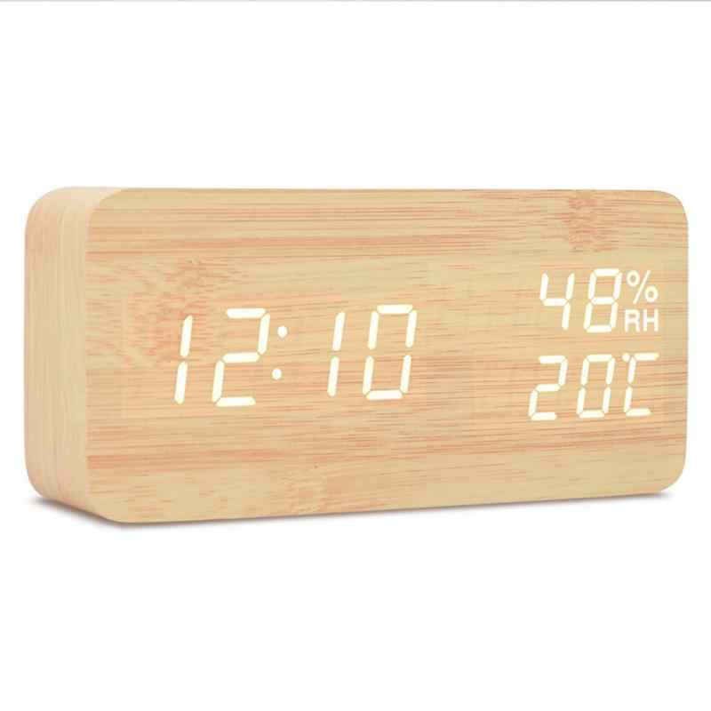 Desktop Wood Living Room Electronic Multifunction LED Display Desk Alarm Clock