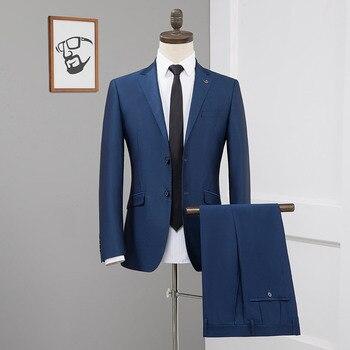 Men's suit spring and autumn new men's suit two-piece suit (jacket + pants) men's business casual slim suit formal banquet dress
