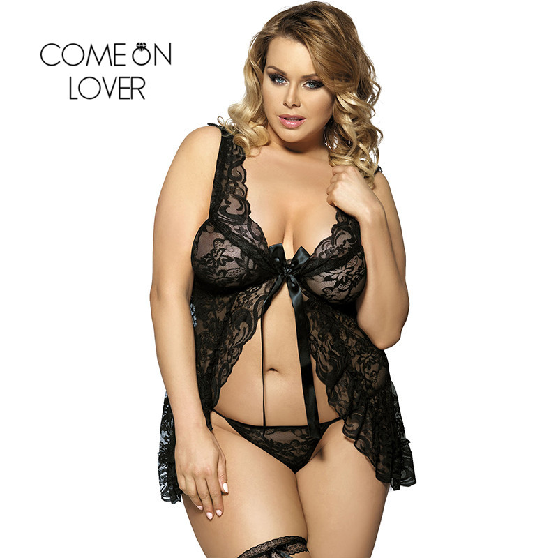 Comeonlover Sexy Open Babydoll Lingerie Erotic Hot Sex Costume Floral Lace Short Mini Sleepwear Nightwear Exotic Apparel RI7416