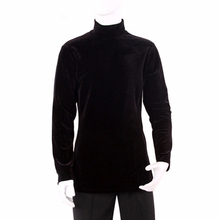 2016 Men Dance Shirt High Collar Keep Warm Latin Top Long Sleeve Black Practice Cha Cha