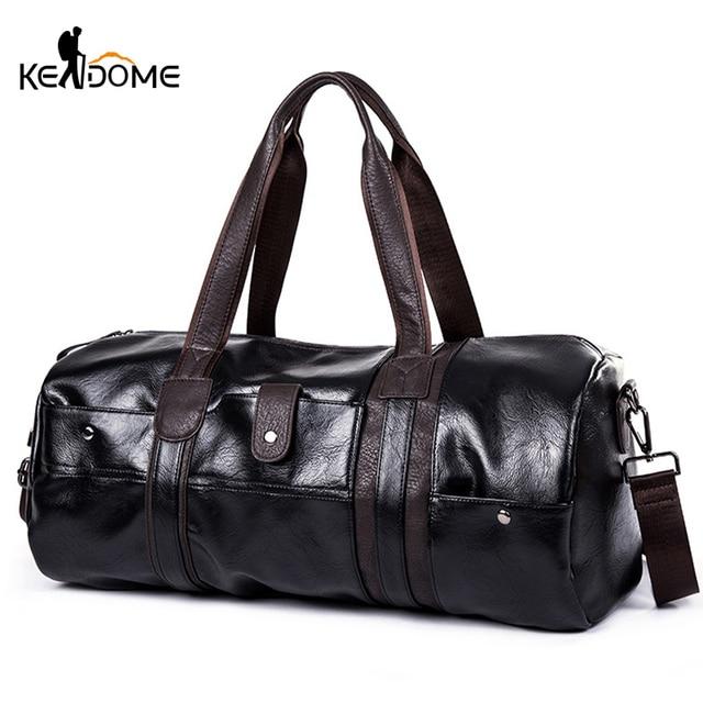 Sports Bag Men for Gym Yoga Soft Pu Leather Black Brown Cylindrical Sport Fitness Bag Male Shoulder Travel Luggage Bag XA594WD 1
