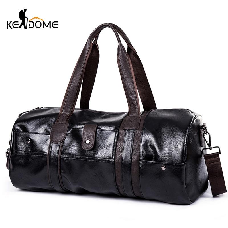 Sports Bag Men For Gym Yoga Soft Pu Leather Black Brown Cylindrical Sport Fitness Bag Male Shoulder Travel Luggage Bag XA594WD