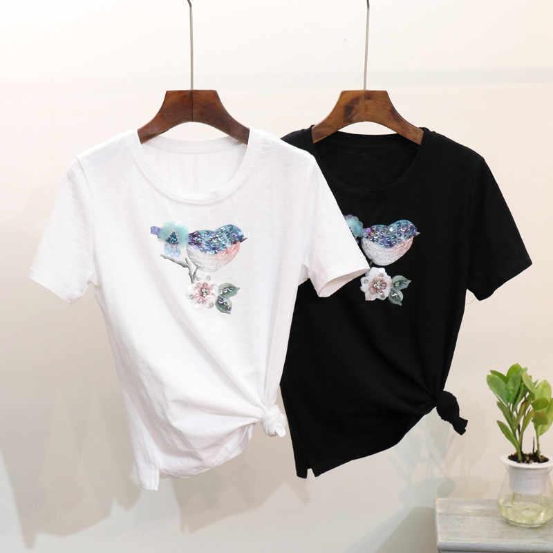 2019 جديد الصيف النساء الزهور الخرز قصيرة الأكمام التي شيرت كل مباراة الطالب الفتيات القطن قميص الأساسية قمم السترة القمصان c855