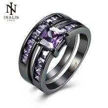 Inalis кольцо комплекты черный пистолет Цвет циркон фиолетовый повелительница перстни Новый Дизайн украшения для женщин свадебный подарок