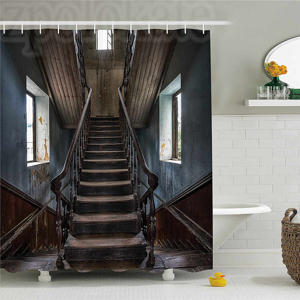 Scary Decor Shower Curtain Horror Movie Classic Deserted Abandoned Home with Old Vintage Stairs Artwork Bathroom Decor Set with