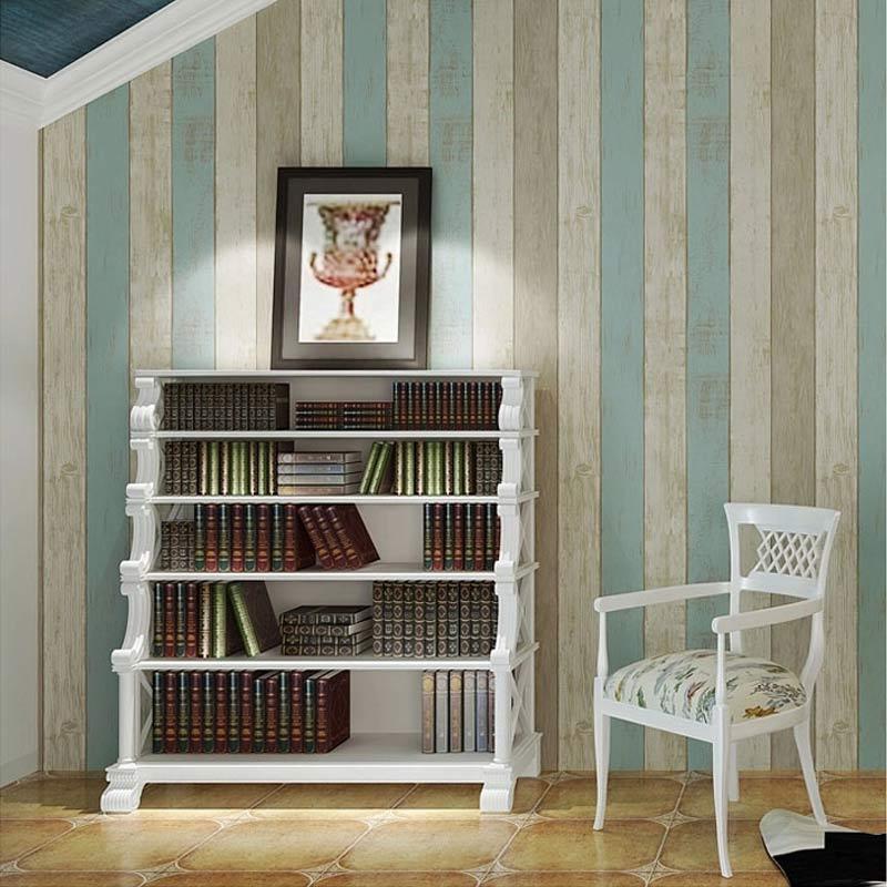 Mediterranean Style Imitation Wood Board Wood Grain Wallpaper Vertical Striped Living Room Sofa TV Background Papel De Parede 3D