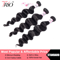 TRIO Free Shipping Indian Hair Loose Deep Wave Natural Color 8 30 inch Non Remy Human Hair Weave 3 Or 4 Pcs Available