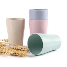 4 шт./компл. пшеничной соломы стакана воды мульти-функциональный клей кофейного оттенка Пластик чашка с соломкой Питьевая Стекло детские чашки многоразовые яркого
