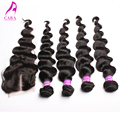 6A Brazilian Virgin Hair With Closure 5Pcs Lot Lace Closure With Hair Weft Brazilian Loose Wave With Closure Rosa Hair Products