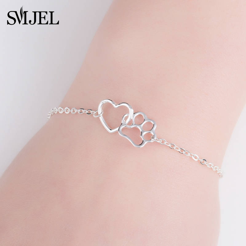 SMJEL Cute Pets <font><b>Dogs</b></font> Footprints <font><b>Paw</b></font> Chain <font><b>Bracelets</b></font> & Bangles Women Kids Jewelry for Women Animal Lover Gifts femme 2019 image