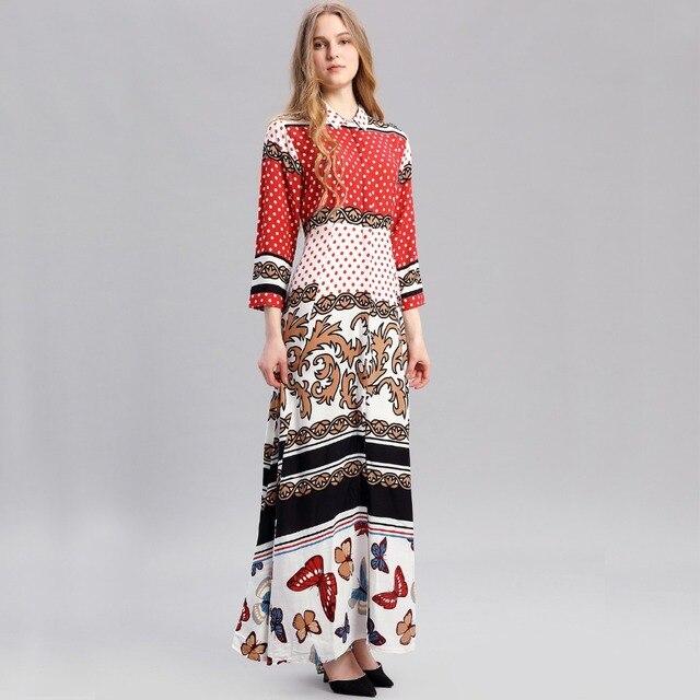 a1397e9e21 Women Bohemian Maxi Long Sleeve Casual Dress Vintage Kaftan Islamic Abaya  Muslim robe dot printing shirt